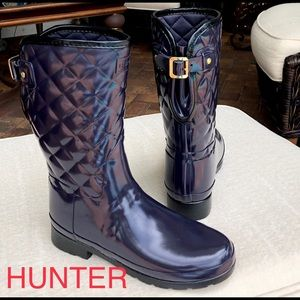 HUNTER Quilted rain boots size 7